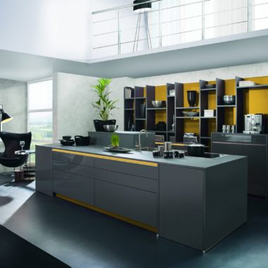handleless modern kitchen in glossy grey lacquered finish with yellow accents