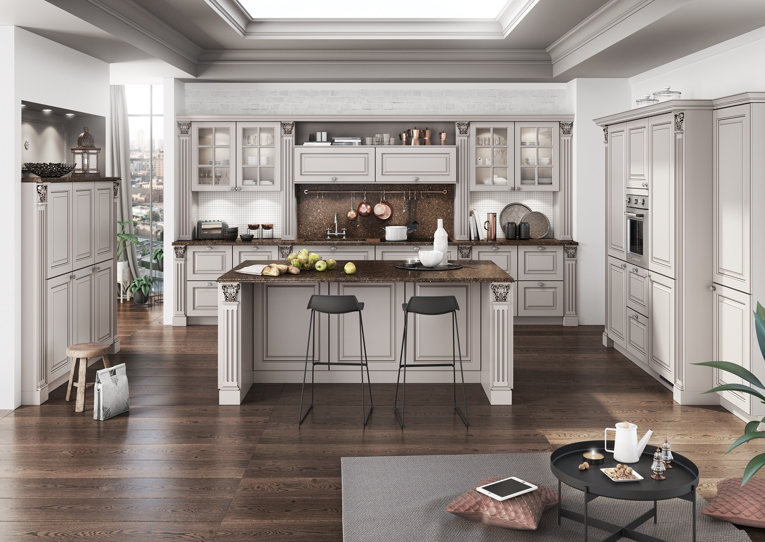 Classic White Luxury Kitchen By Bauformat With Gold Patina